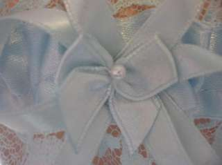New SOMETHING BLUE satin & lace handmade wedding garter