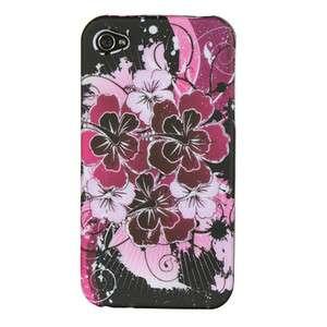 FLOWERS HARD RUBBER FEEL PLASTIC CASE 4 APPLE IPHONE 4 / 4S ACCESSORY
