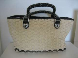 Authentic Brighton Straw with Black Leather Trim Tote Satchel~