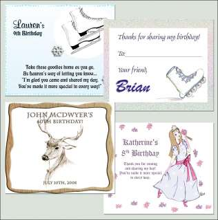 Personalized Custom Birthday Party Favor Bag Labels