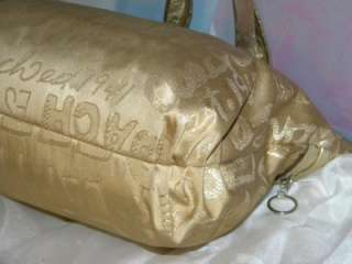 COACH POPPY STORYPATCH Glam Tote Bag Lurex Gold 15301 GUC Graffiti