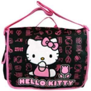 HELLO KITTY Messenger School Work Bag Black Pink Tulip Canvas gift