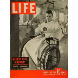 1945 Cover LIFE WWII Private George Lott Full Body Cast