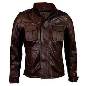 Mens Brown Button Urban Zipper Layered Leather Jacket