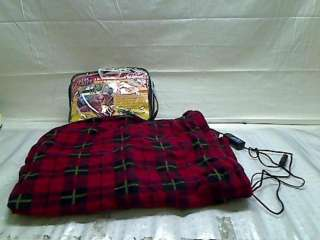 Heated Fleece Travel Electric Blanket   12 Volt   Red Plaid