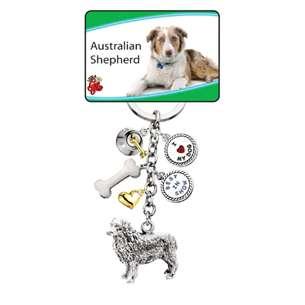 Little Gifts Australian Shepherd Dog Keychain 6 Charms