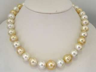 15.5mm Golden & White South Sea Pearl 14K Gold Necklace