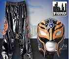 WWE Rey Mysterio Black and Orange Replica Kid Size Mask Pants Costume