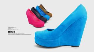 Toe New Womens Shoes Platforms Faux Suede Wedge High Heels Pumps B13Z