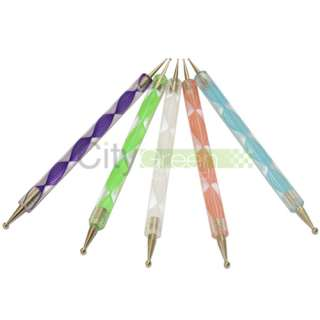 Way DOTTING Pen Marbleizing Tool Nail Art Paint 5 Colors