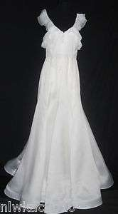 FACED ORGANZA GOWN WEDDING DRESS SIZE 6 UNIQUE SAMPLE IVORY