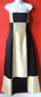 tan black COLORBLOCK satin formal gown FULL LENGTH dress SZ 4