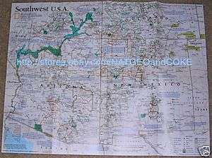 National Geographic MAP SOUTHWEST USA Oct 1992 ARIZONA