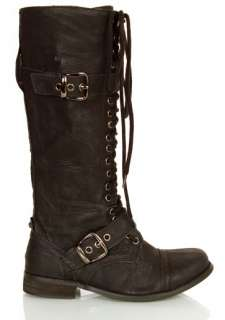 WOMEN LADIES Knee Boots Slouch Low Heels army military combat work