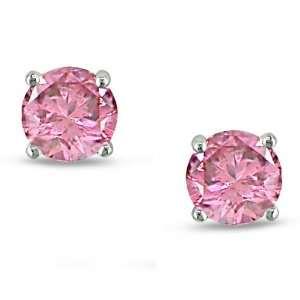 14k White Gold Martini Style Pink Diamond Stud Earrings (.5 cttw, I1