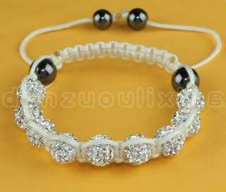Jewelry White & Czech Crystal 10MM Disco Ball Shamballa Bracelets