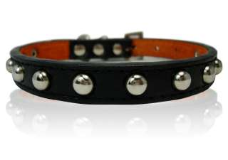 11 black Leather Studded Dog Collar Small XS