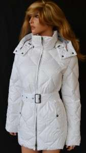 NWT BURBERRY GOOSE DOWN NOVA CHECK WHITE DIAMOND PUFFER PARKA COAT