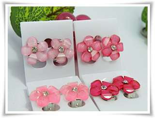 Beautiful Pink Flower 4 Pairs Clip On Earring for Baby Kid So Cute