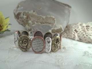 Tri Tone Faith Hope Love Stretch Bracelet Adorable