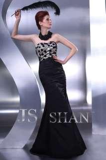JSSHAN Black Long Formal Prom Gown Evening Night Dress