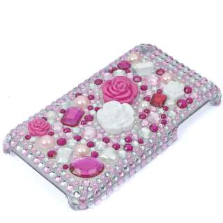 Bling Crystal Pink Flower Back Case for iphone 3G 3GS