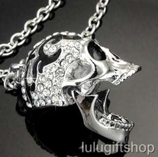 18k white gold plated skull pendant necklace use swarovski crystals