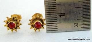 18K VINTAGE ANTIQUE TRIBAL OLD GOLD EARRINGS EAR STUD