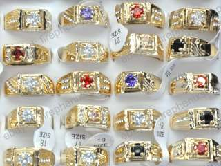 Wholesale mixed lots 12pcs gold plated Man rings jewelry