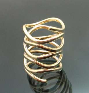 Inspired Very Unique Gold Plated GP Swirl Tangled Ring Size 7 NEW