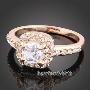18K rose GOLD GP Swarovski crystal wedding ring 1606