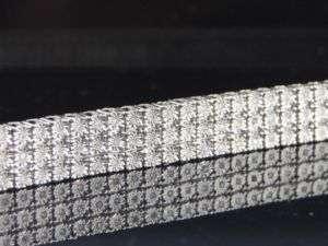 MENS 10K WHITE GOLD 3 ROW FANOOK DIAMOND BRACELET PAVE