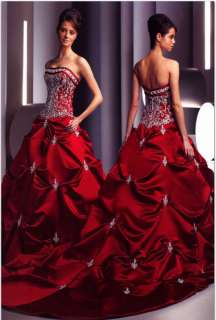 New Red Satin Wedding Dresses/Gowns Size 8 10 12 14 16