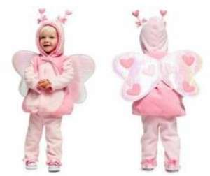 NAVY BUTTERFLY Halloween COSTUME 0 6M BABY GIRL PINK FLEECE 2 PC SET