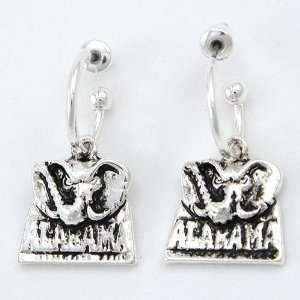 Alabama Crimson Tide Silver Tone Earrings Sports