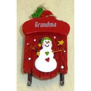 Grandma Christmas Snowman Sled Ornament