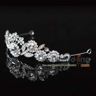 Wedding Bridal Floral Crystal Rhinestone Veil Princes Tiara Crown