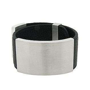 Womens Black Leather Bracelet with Plain Stainless Steel Element