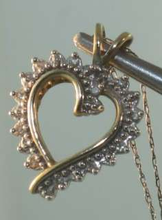 14k yellow gold diamond heart pendant necklace 2.8g