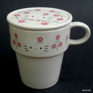 MUG w LID Sanrio HELLO KITTY Pink Flowers Pot Shape