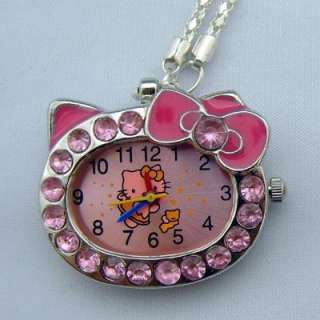hello kitty crystal necklace pendant pocket children girl quartz watch