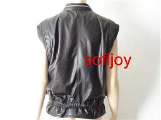 NWT SEE BY CHLOE sz 42 6 8 black lamb LEATHER vest motorcycle biker