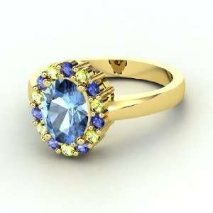 Penelope Ring, Oval Blue Topaz 14K Yellow Gold Ring with