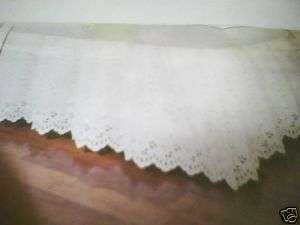 21 White Embroidered Eyelet King Size Bedskirt