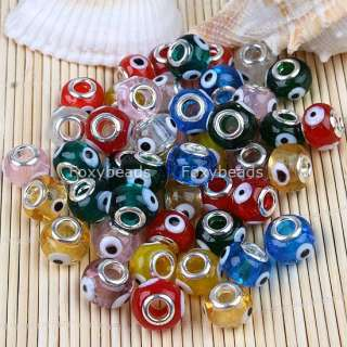 50Pc Mix Color Lampwork Glass Big Hole Beads *Evil Eye*