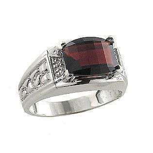 and Diamond Mens Ring. 10k White Gold  Jewelry Gemstones Rings