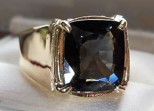62CT CUSHION CUT BLUE SPINEL HEAVY 14KT MENS RING