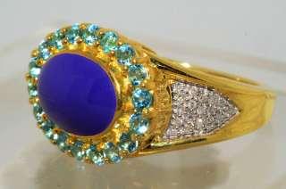22CT PURPLE ENAMEL,BLUE TOPAZ & DIAMOND RING SIZE 7