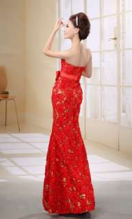 Lady wedding Bridesmaid Banquet Party/Evening Dress Red Flower