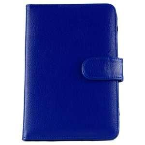 Kindle Fire Flip Open Book Blue Leather Folio Cover Case